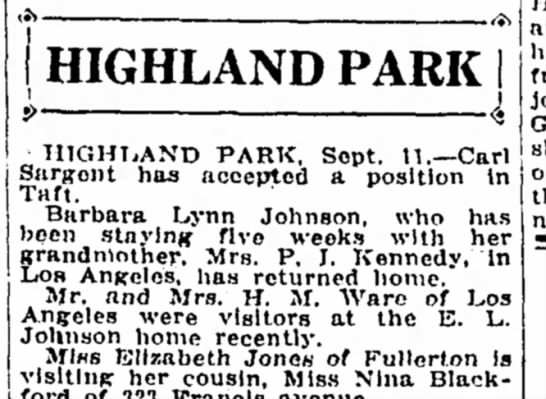 Barbara Lynn Johnson and Ware - Bakersfield Californian, 11 Sep 1933, p4