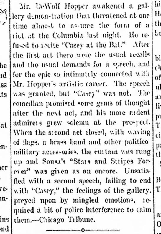 """Hopper refuses to recite """"Casey"""" - from Chicago Tribune, in the Fort Wayne News 27 Jan 1898 p.3"""