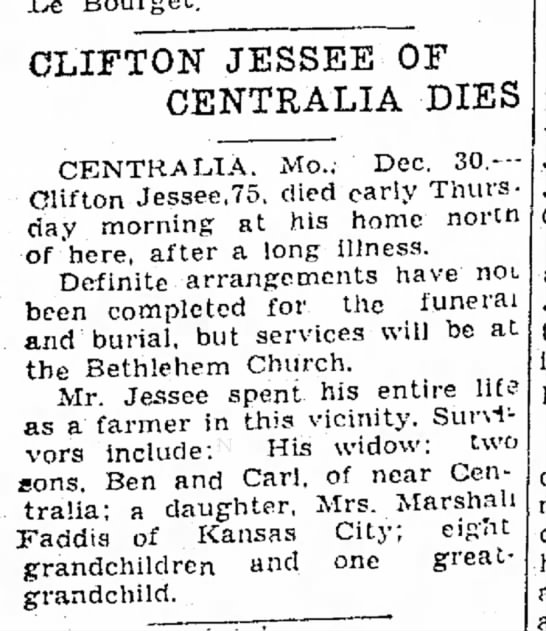 Clifton Jessee of Centralia dies