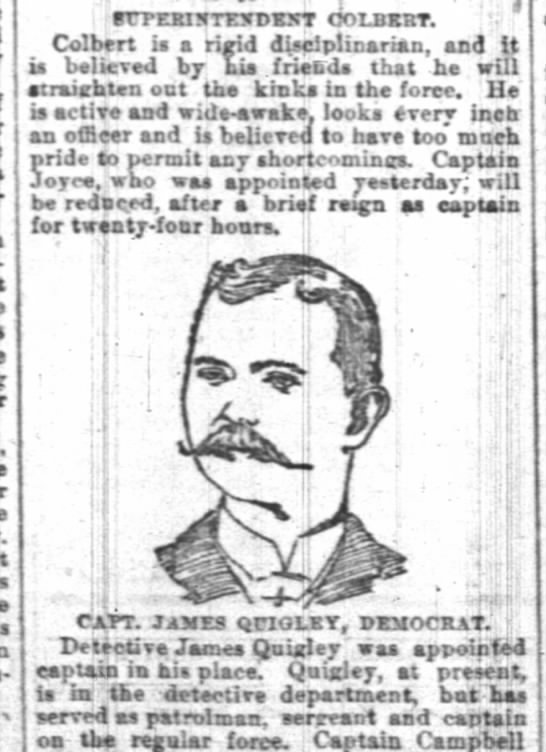 James f Quigley capt 12 feb 1891 Indy news