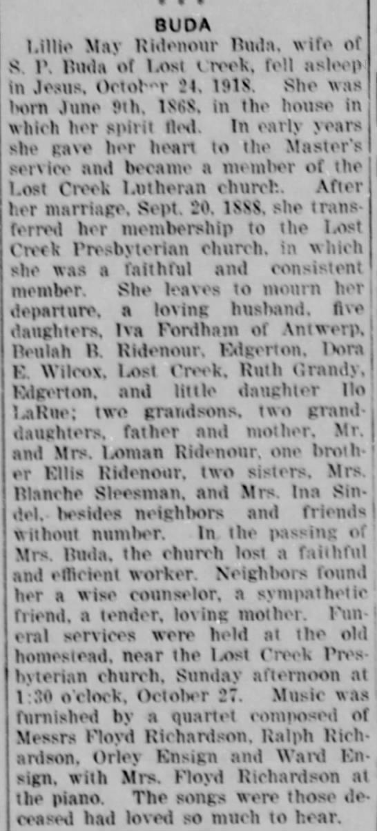 Lillie May Ridenour Buda Obit