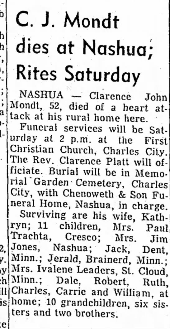 CJ MondtMason City Globe 3/2/1962 pg 8