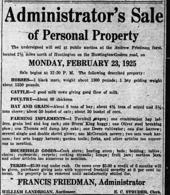 andrew friedman sale 20 feb 1925