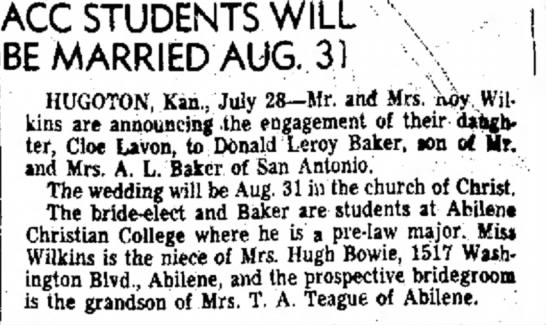 Lavon's Wedding Announcement