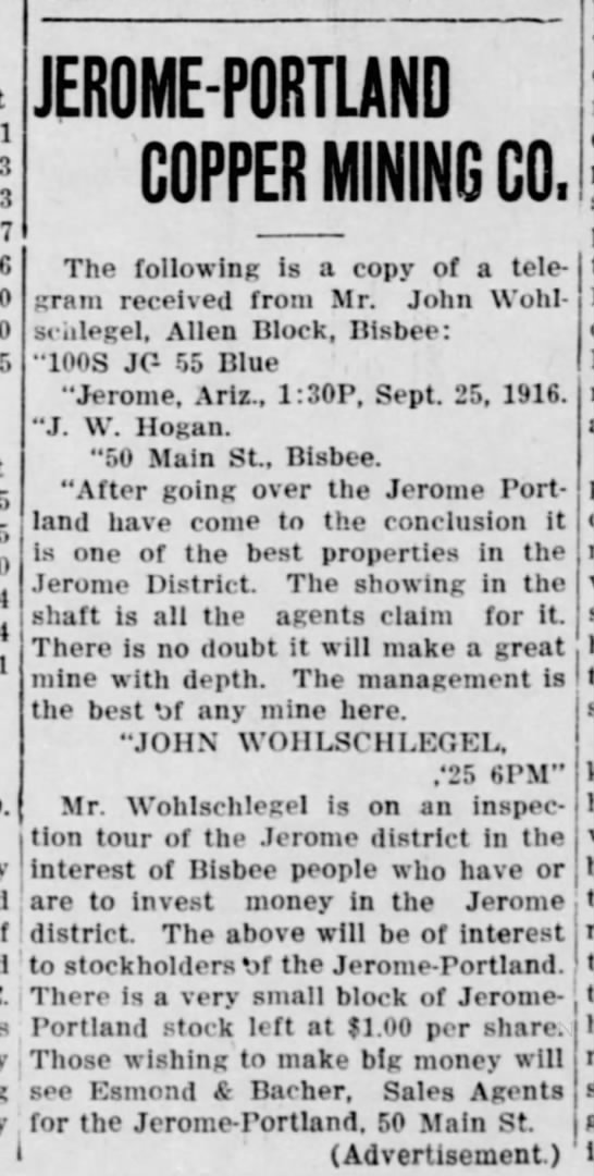 Bisbee Daily Review, 27 September 1916, page 3
