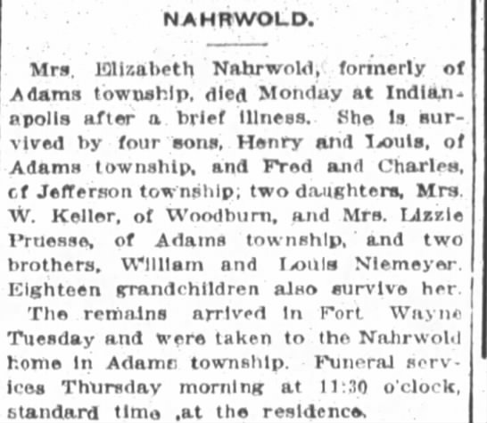 E. Nahrwold dies out of town Indianapolis...was she in a facility?