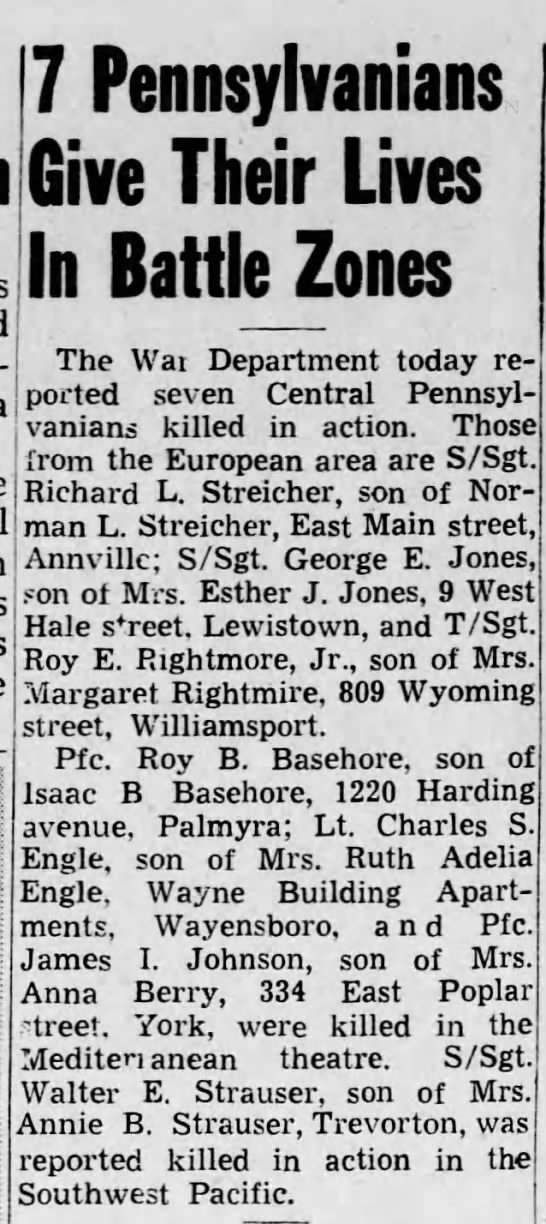 Roy E. Rightmire among 7 Pennsylvanians who gave their lives in battle zones...