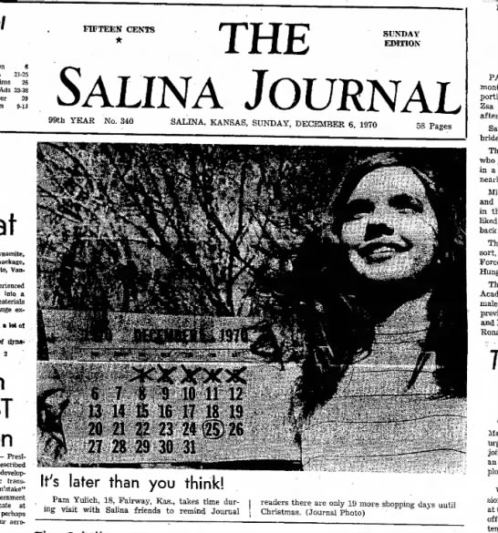 Pamela Yulich Christmas Reminder Picture The Salina Journal Dec 6, 1970 pg 1