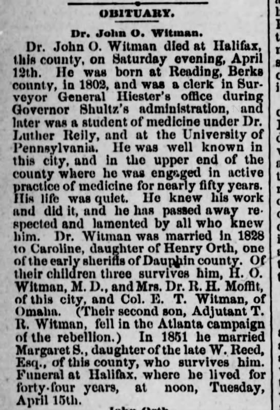 Obituary of Dr. John O. Witman- died in Halifax.