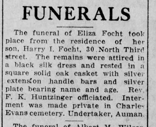 Eliza Focht funeral