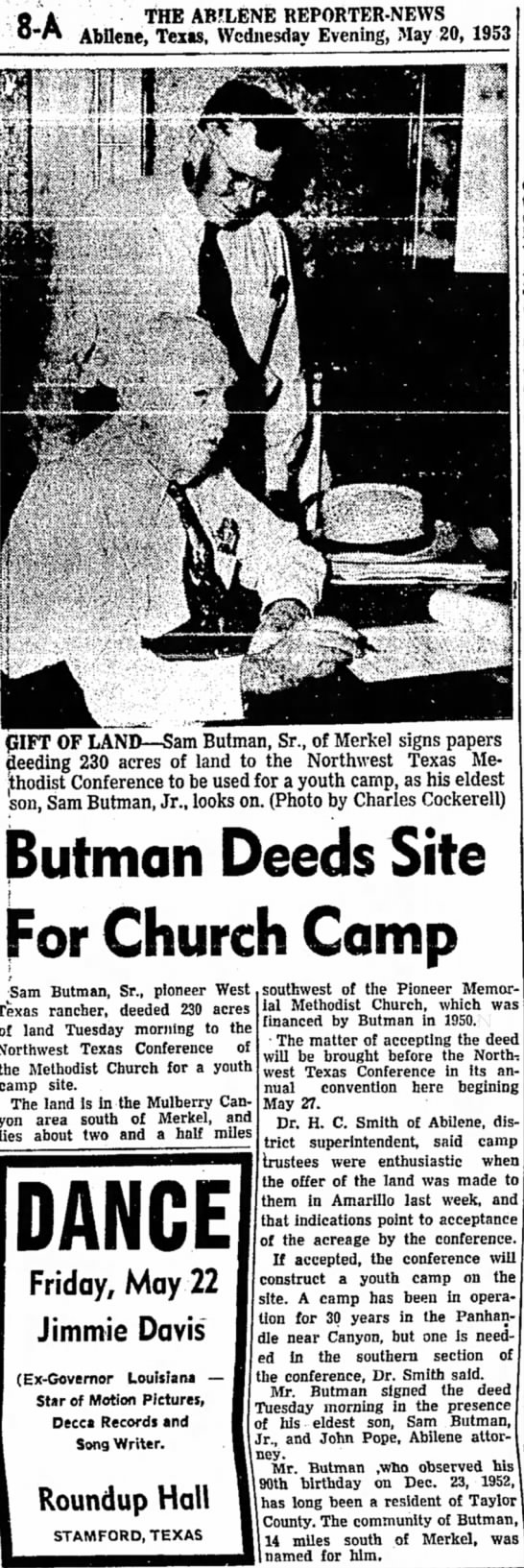 Sam Butman signing land over to Butman camp