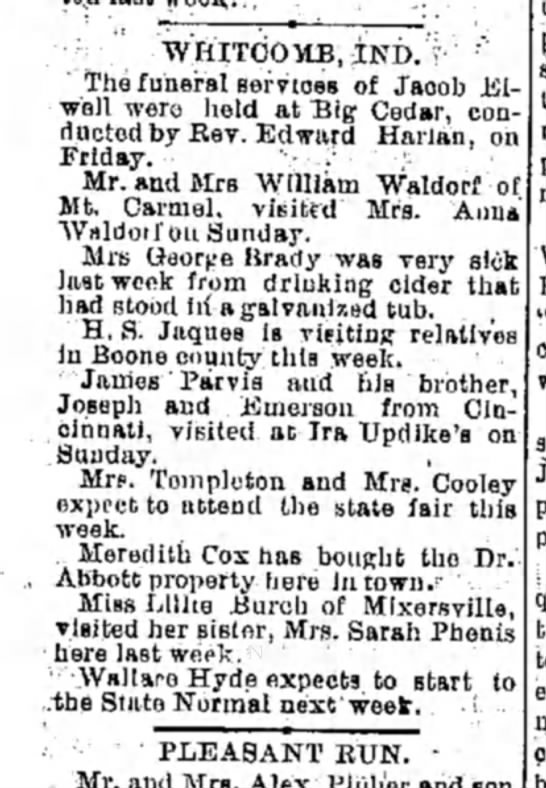 Hamilton Journal News Wed Sept 20 1899 HS Jaques visits Boone County