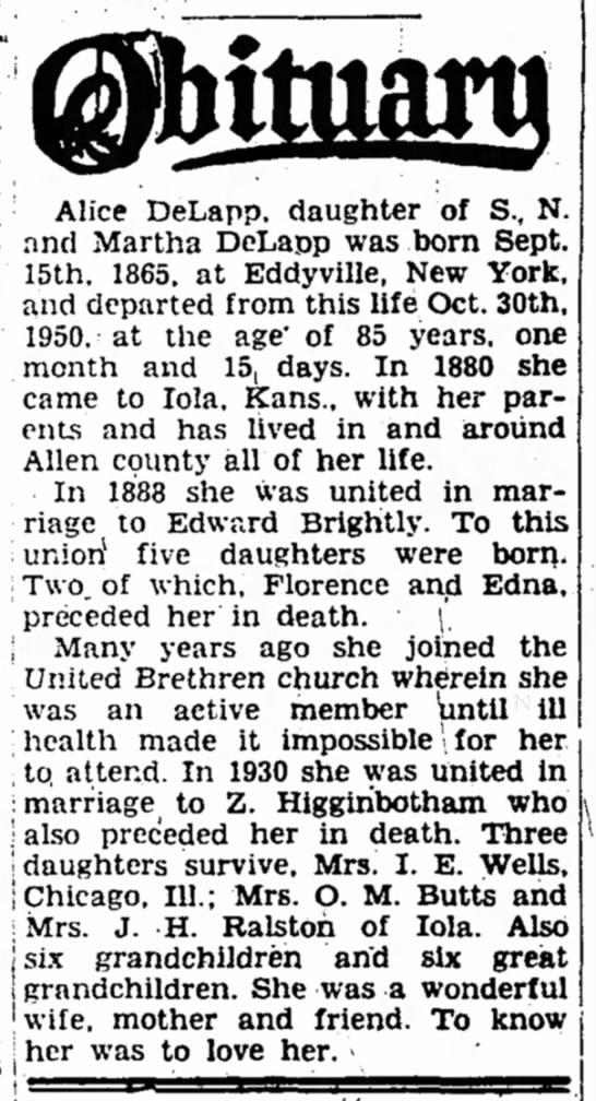 Alice Delap 3 Nov 1950 Obituary
