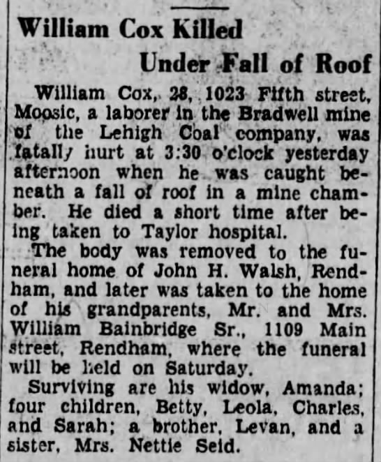 William Cox Killed Under Fall of Roof