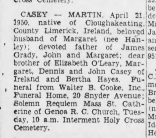 Obituary of Martin Casey, brother of Lizzie Casey O'Leary