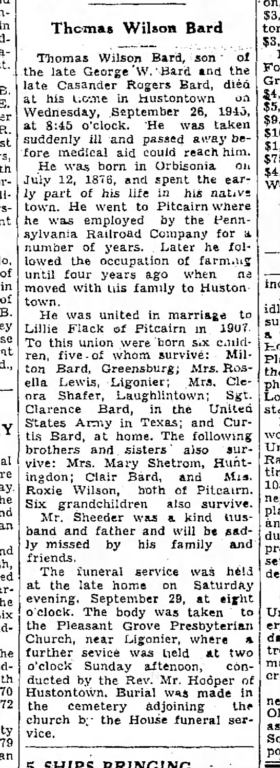 Thomas Wilson Bard-Obit-p.4-TDN-2 Oct 1945