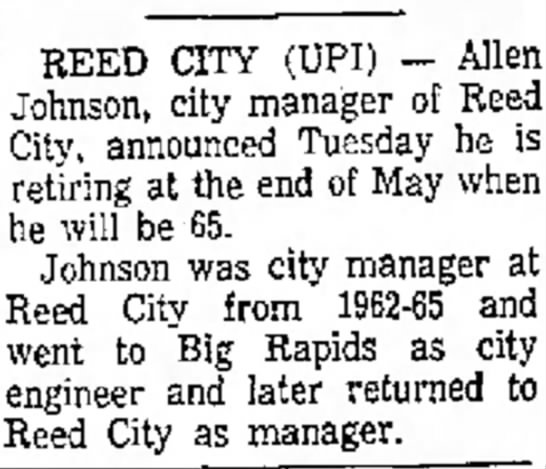 Reed City City Mgr. Allen Johnson retires - Traverse City Record Eagle March 9, 1972