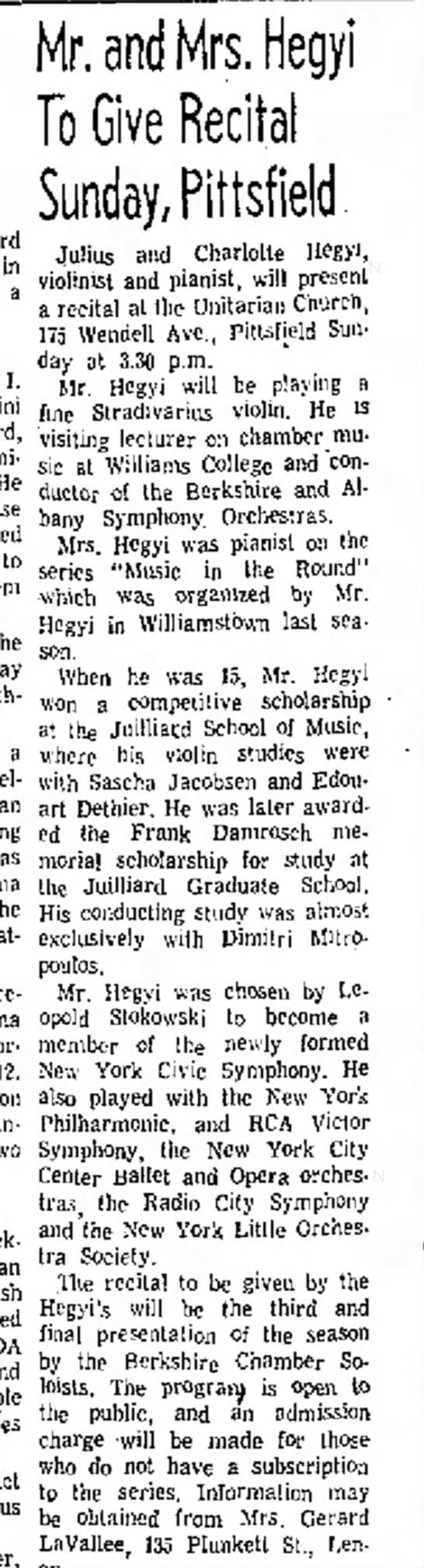 Berkshire Chamber Soloists 18 May 1966