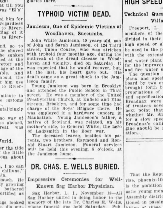 Jamieson typhoid victim 18 Nov 1912 Brooklyn Daily Eagle