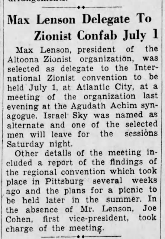 Max Lenson Delegate to Zionist Convention-1934