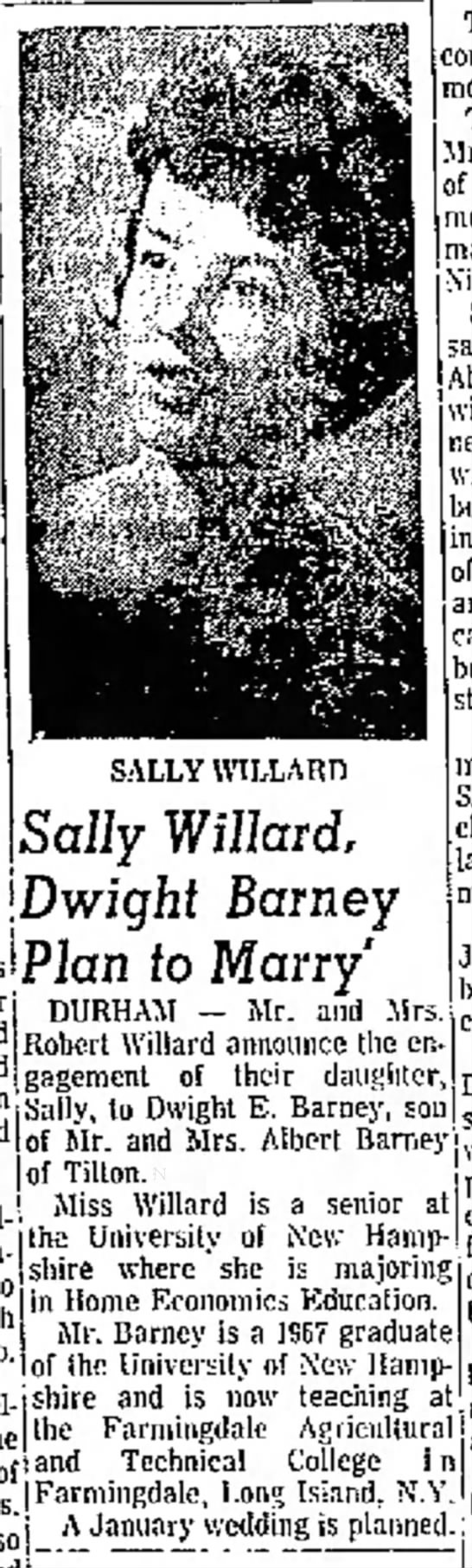 Sally & Dwight Engagement Announcement  Ports Herald   Oct 7, 1967   Pg 6   col 7