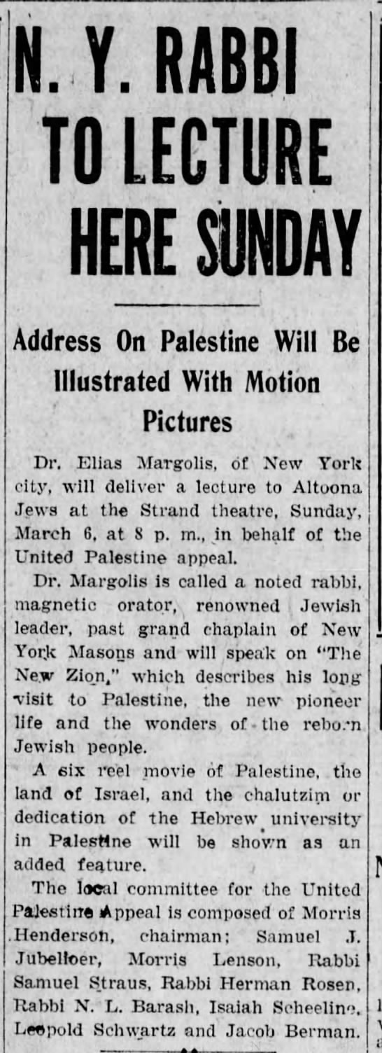 Address on Palestine with Motion Pictures- 1 March 1927