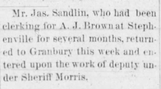 1891 Sandlin deputy