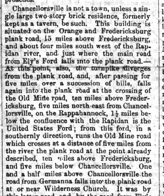 Description of Chancellorsville and surrounding area