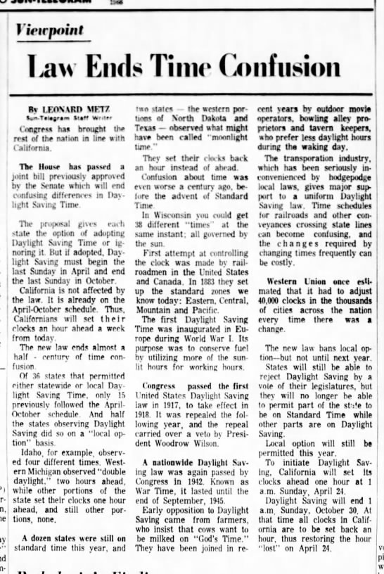 1966 law passed to standardize daylight saving time