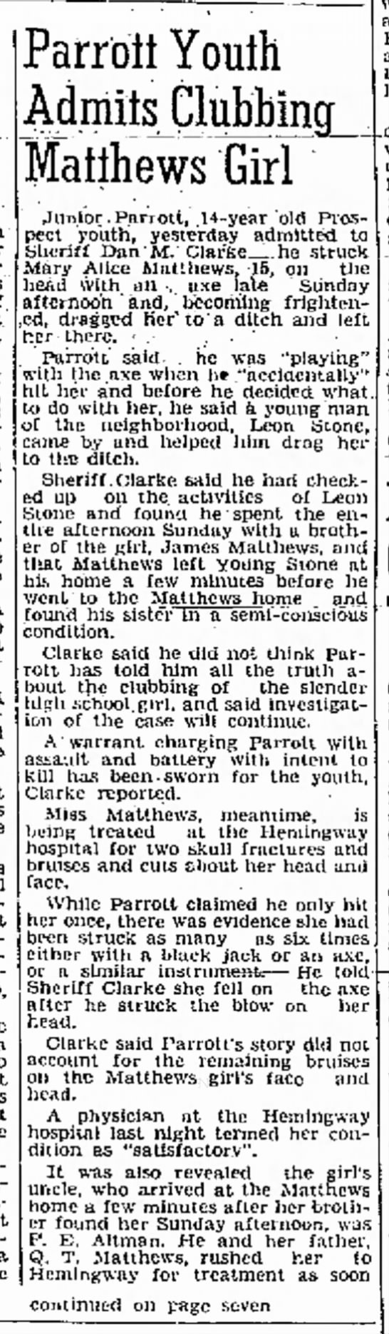 Mary Alice - 20 Jun 1946 Florence Morning News pg 1
