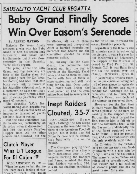 "28 Aug 1961 Daily Ind Jnl ""Baby Grand Finally Scores Win Over Easom's Serenade"""
