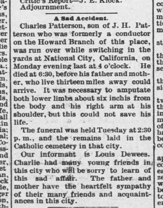 Charles Patterson accident obit