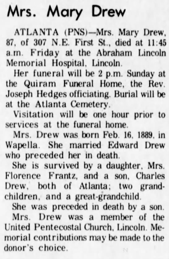 Obit for wife of nephew to Mary Ellen Drew Tobin