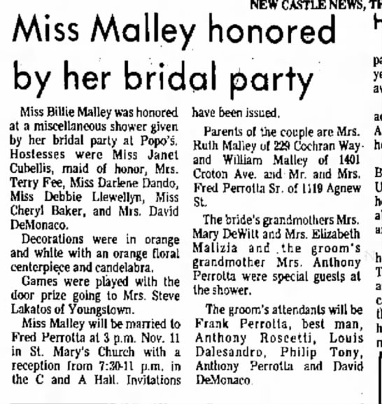 miss malley honored by her bridal party