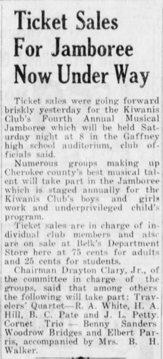 Woodrow Bridges to play in cornet trio. April 24, 1958