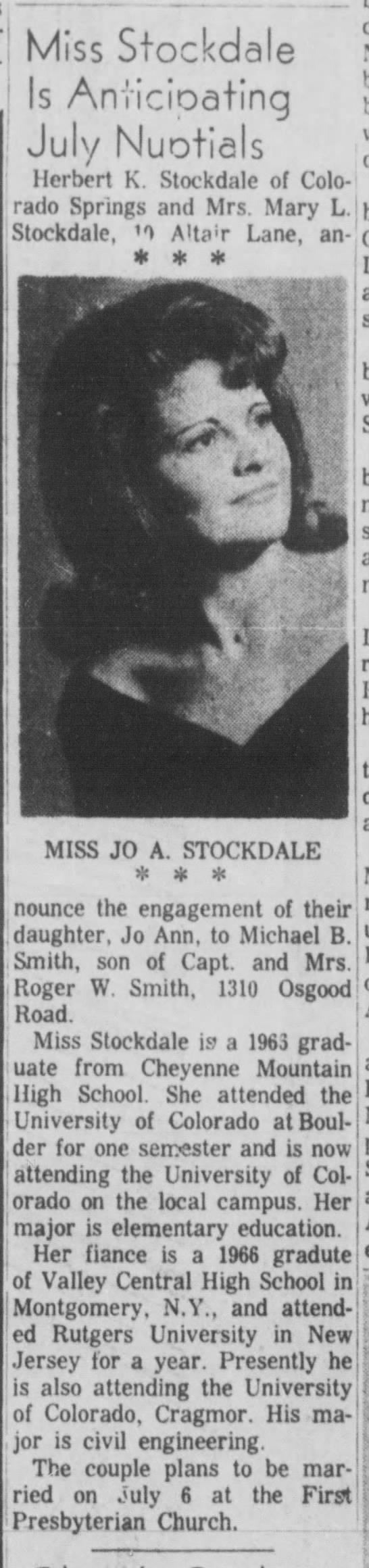 wedding announcement of Jo Ann Stockdale