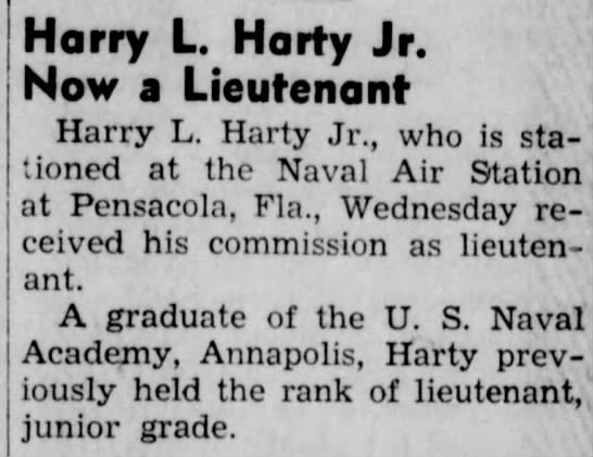Harry L Harty becomes Lt.