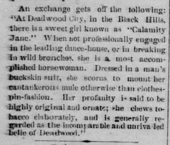 "Calamity Jane's profanity is ""highly original and ornate,"" 1876"