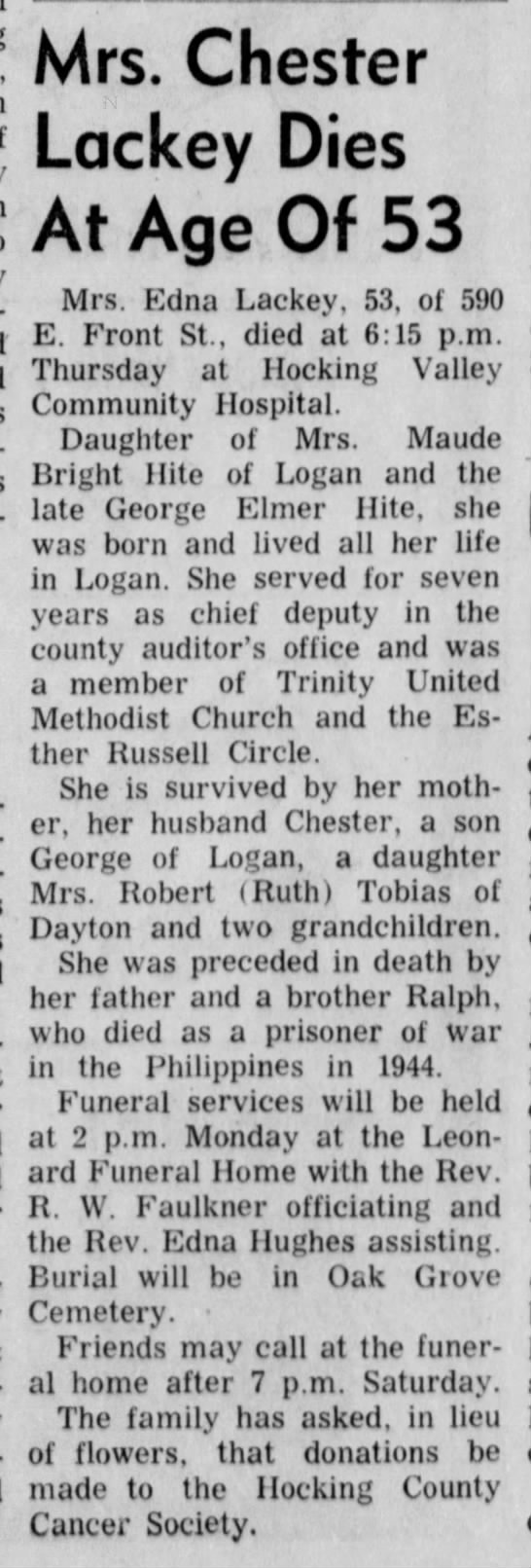 Edna Hite Lackey obit Oct 1971