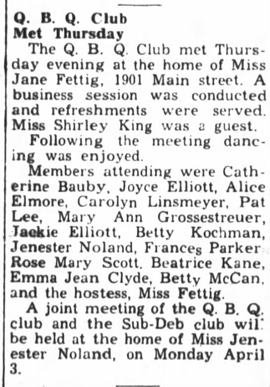 Mary Ann Grossestreuer attends QBQ Club meeting