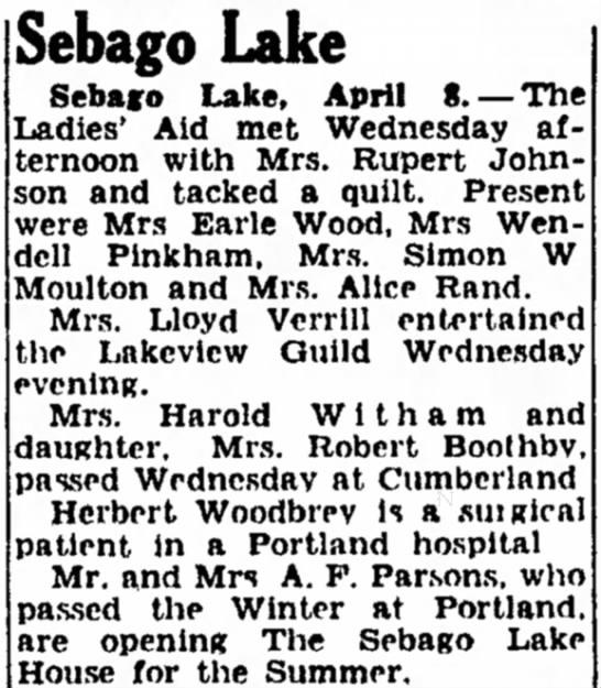 Sebago Lake - Mrs Wendell Pinkham