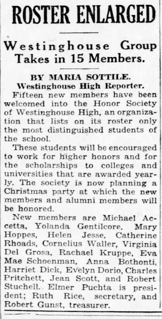 1934 Dec Michael Accetta accepted into Westinghouse High (Pittsburgh post Gazette)
