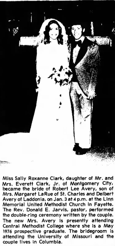 Miss Sally Roxanne Clark & Robert Lee Avery Wedding Announcement