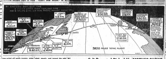 Map of Lindbergh's transatlantic flight