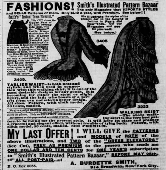 Advertisement for women's clothing patterns (Missouri, 1875)