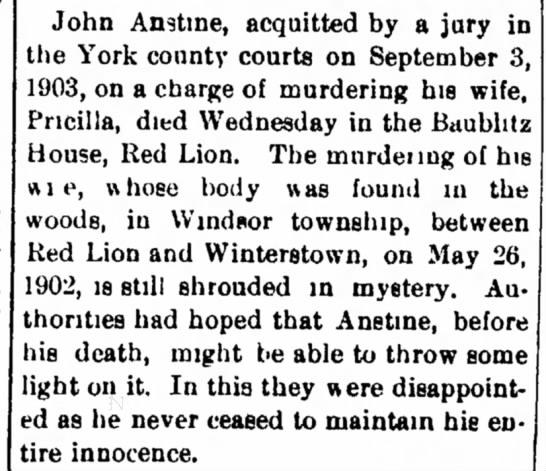 John Anstine death-Feb 1918