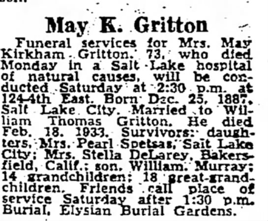 Obituary for May Kirkham Gritton 28 April 1967 Salt Lake Tribune