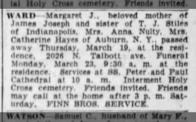 Margaret Ward obituary Indianapolis Star 21 Mar 1936 p21