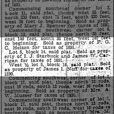 1895.5.18  James Carrigan property sold for 1890 taxes