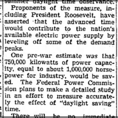 """War Time"" implemented as an energy-saving measure"